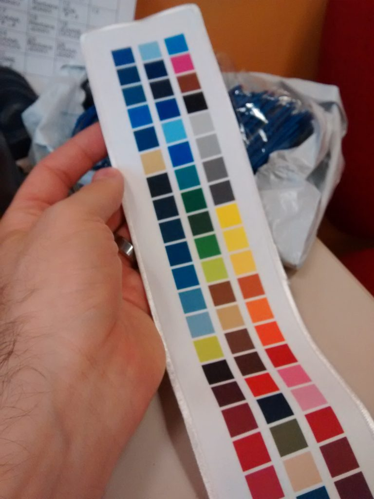 I created this testing swatch on a live example of a pre-made patch with a new sublimation ink formulation, creating a reference palette for future color matching purposes. This activity may have taken some time, but it paid off in sure color settings for my next sublimated patch order.